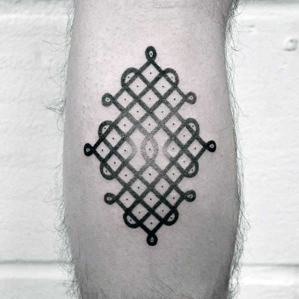 Pattern Simple Geometric Guys Leg Calf Tattoo