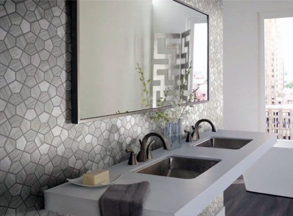 lines and shapes bathroom wallpaper ideas