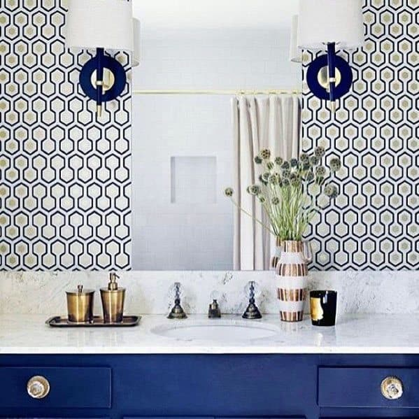 Pattern Wall Designs Blue Bathroom