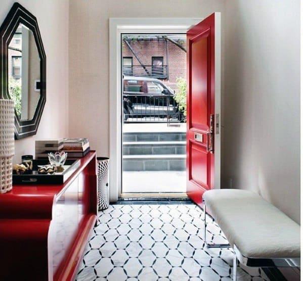 Pattern White Entryway Tile Design Inspiration