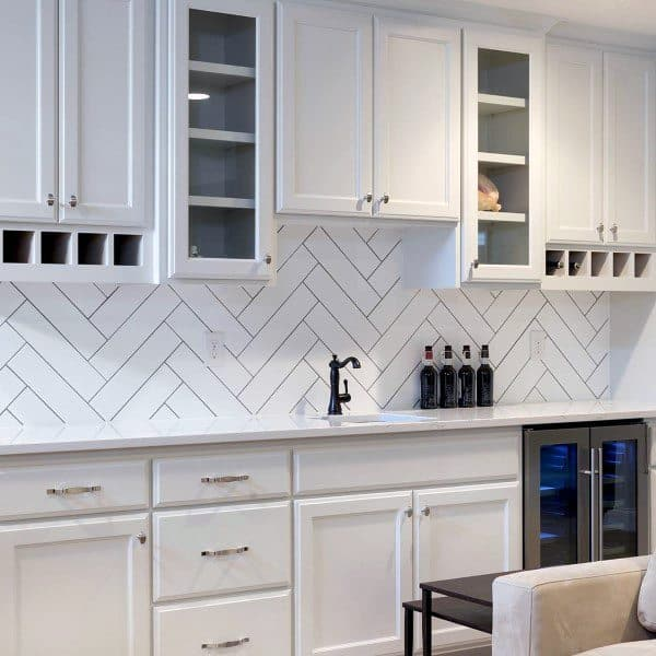 Pattern White Tile Backsplash With White Cabinets Home Wet Bar