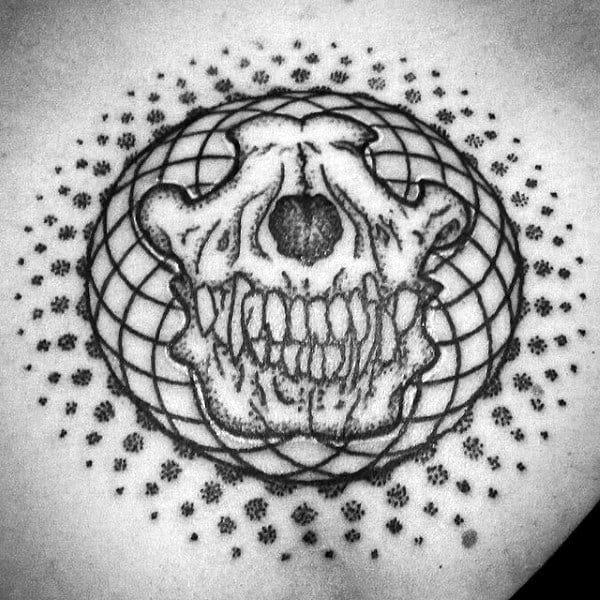 Pattern Wolf Skull Mens Chest Tattoo Ideas
