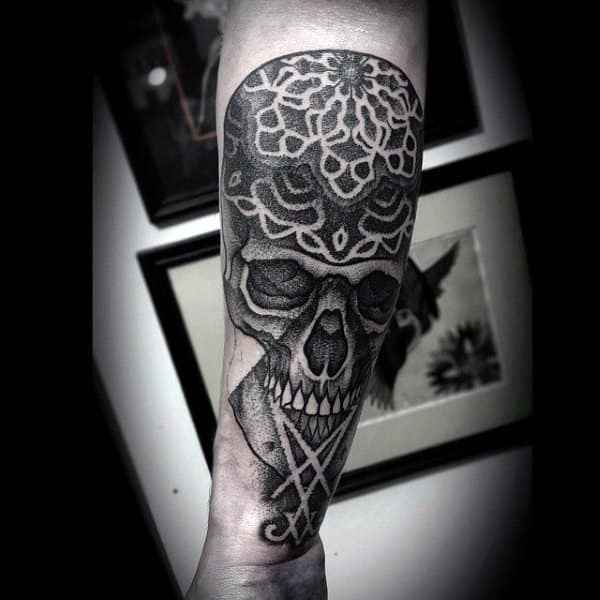 Patterned Skull Tattoo Male Forearm