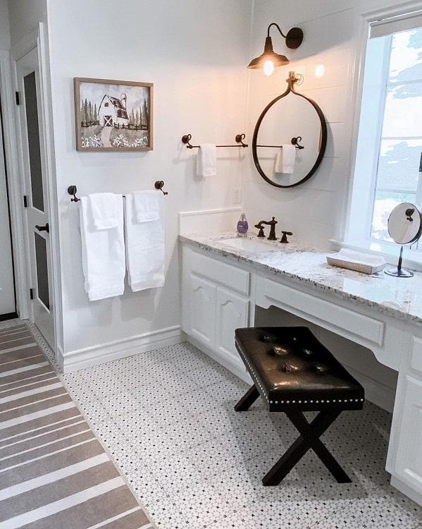 Patterned Tiles Modern Farmhouse Bathroom Mymodularfarmhouse