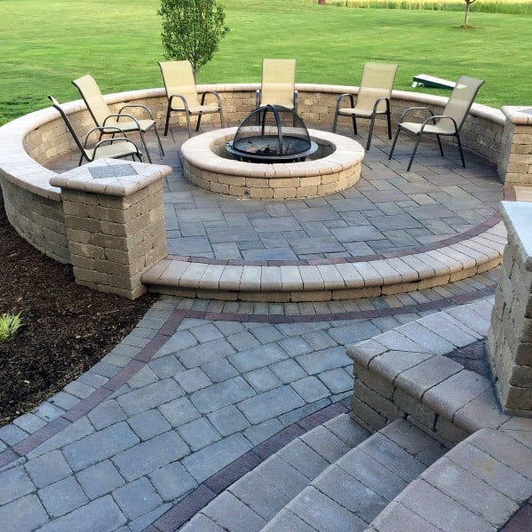 Top 60 Best Paver Patio Ideas - Backyard Dreamscape Designs on Pavers Patio With Fire Pit id=75297