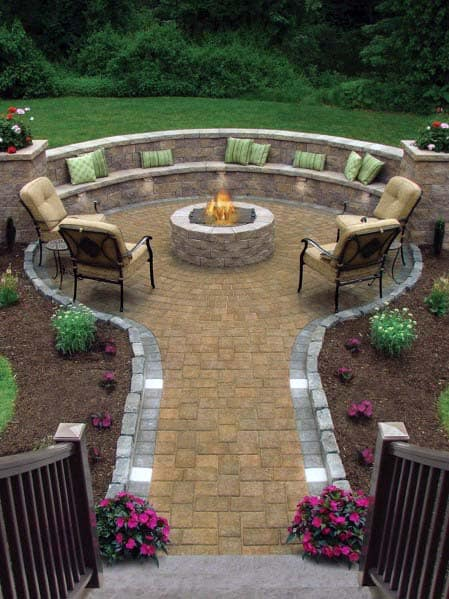 Paver Stones Designs For Fire Pit Landscaping