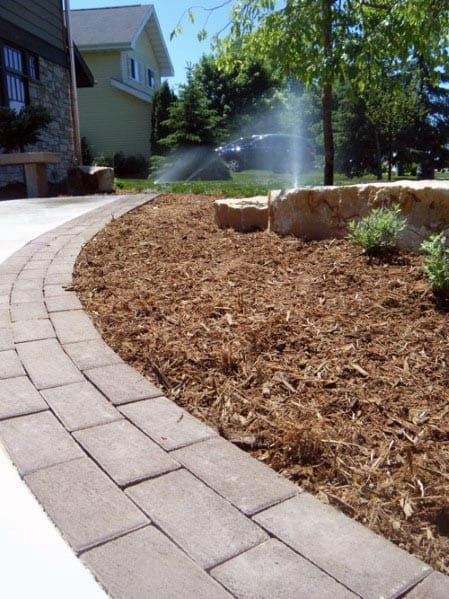 Pavers And Mulch Landscaping Driveway Edging Ideas