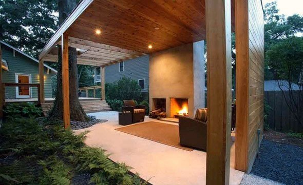 Pavilion Backyard Designs With Fireplace