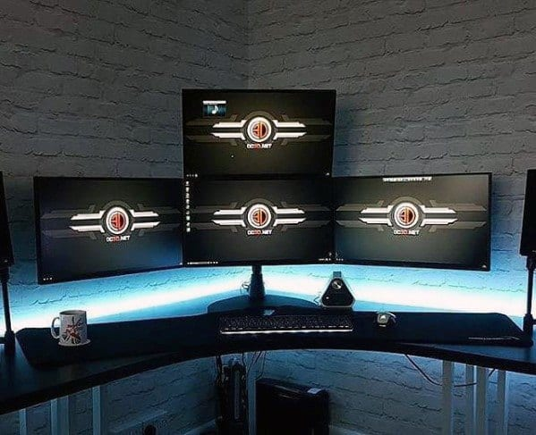 Pc Desktop Gaming Man Cave With White Brick Walls