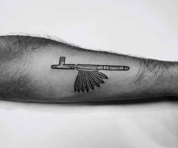 Peace Pipe Awesome Simple Mens Outer Forearm Tattoo