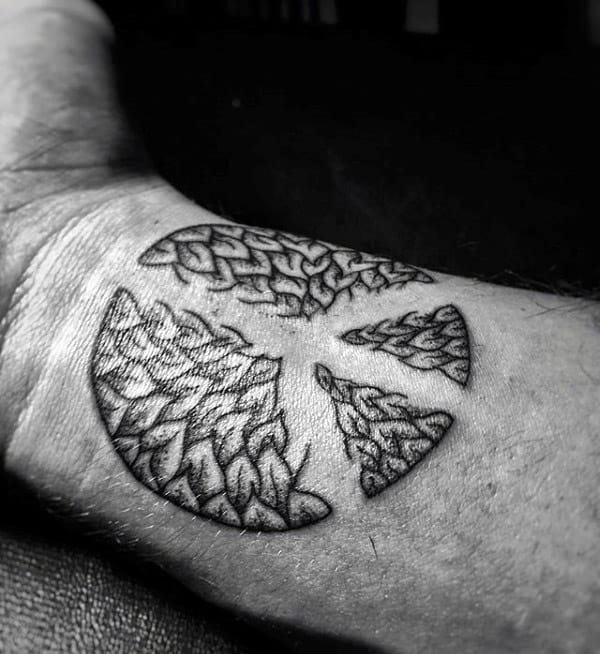 Peace Sign Negative Space Mens Wrist Tattoos