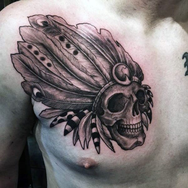 Peacock Feather Indian Skull Male Shaded Chest Tattoo