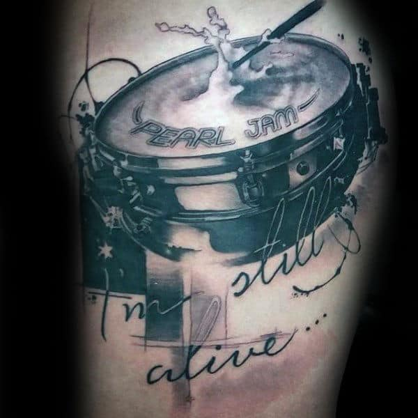 Pearl Jam Abstract Drums Guys Tattoo On Arm