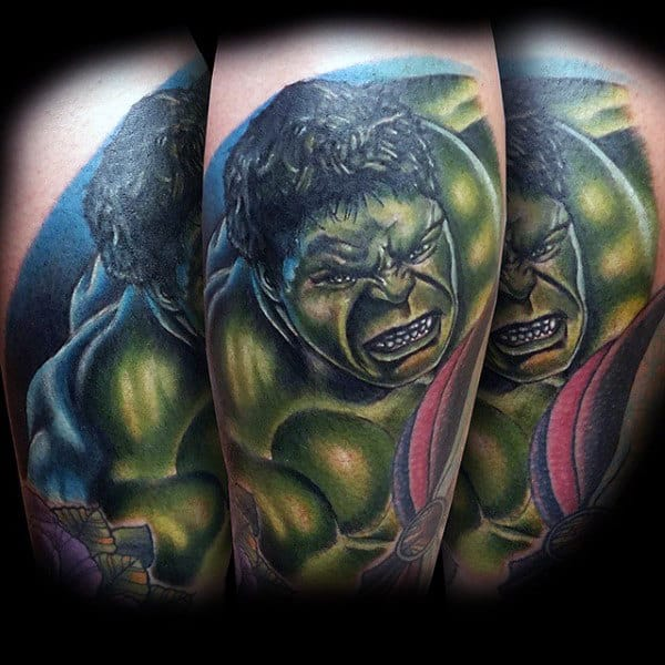 Pearly Tooth Hulk Tattoo Male Forearm