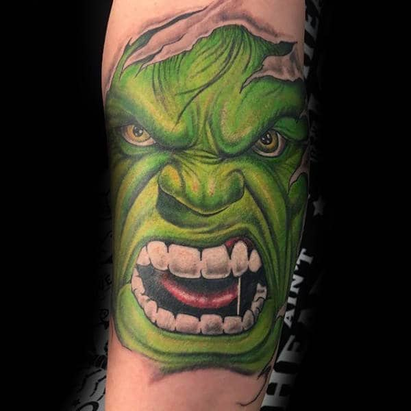 Pearly White Teeth Hulk Tattoo Guys