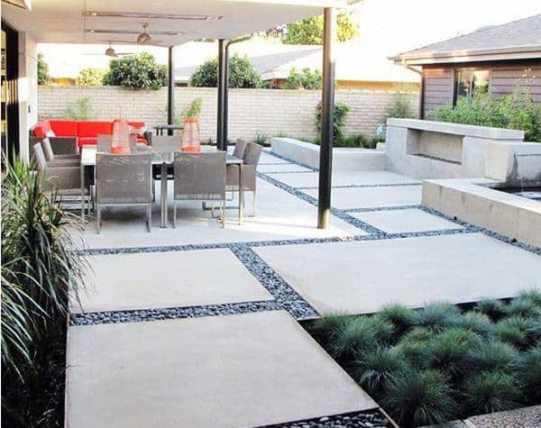 Pebble Concrete Patio Ideas