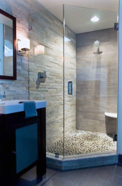 Pebble Rock Floor Tile Corner Shower Idea Inspiration