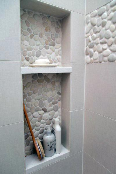 Pebble Tile Bathroom Shower Walls