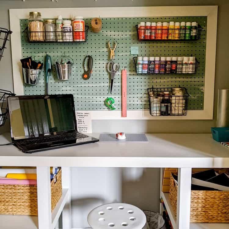 Pegboard Closet Craft Room