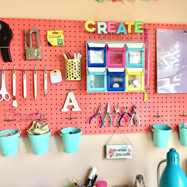 Pegboard Decor Craft Room