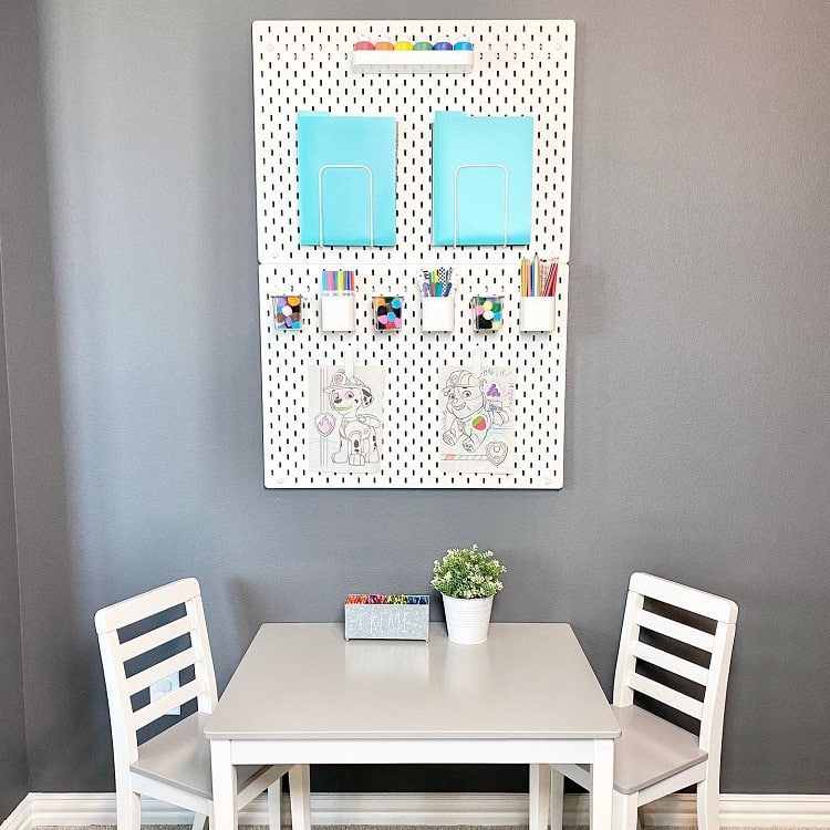 Pegboard Kids Activity Craft Room