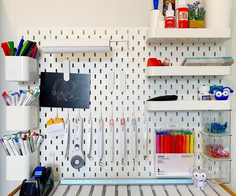 Pegboard Shelves Craft Room