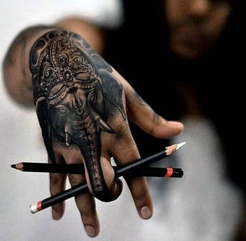 Pencil Art Elephant With Classy Crown Tattoo Males Hands