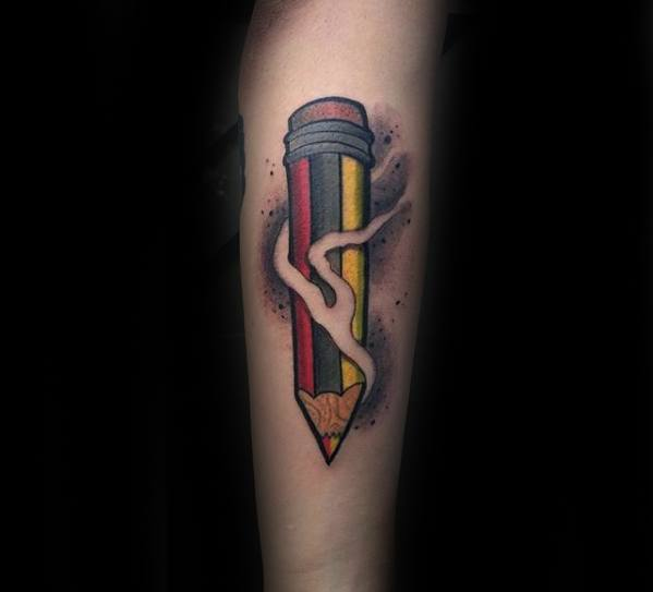 Pencil Mens Tattoo Ideas On Forearm