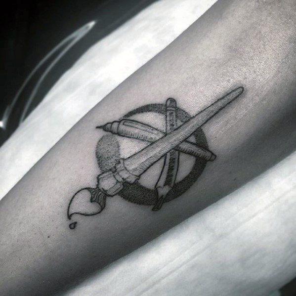 Pencil Tattoos For Gentlemen On Inner Forearm