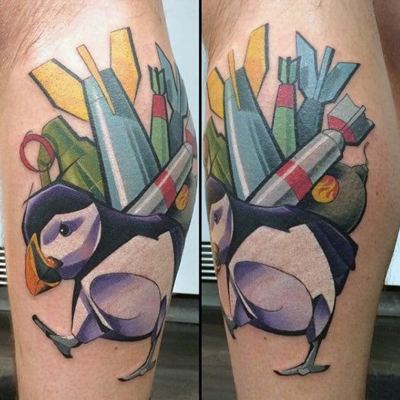 Penguin Carrying Missles Graffiti Tattoo On Back Of Leg Calf For Men