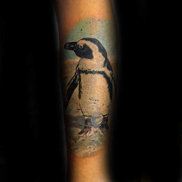 Penguin Portrait Male Forearm Tattoos