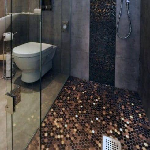 Penny Coin Flooring Designs For Walk In Shower