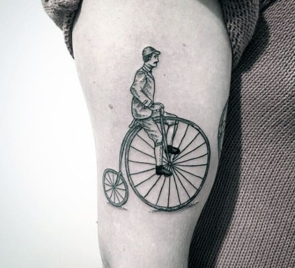 Penny Farthing Bicycle Tattoo On Arms For Men