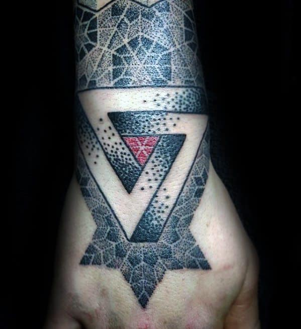 Penrose Triangle Mens Tattoo Designs On Hand