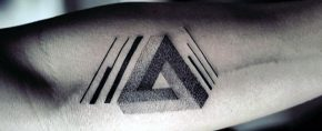 60 Penrose Triangle Tattoo Designs For Men – Impossible Tribar Ideas