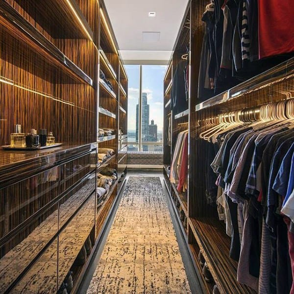 Penthouse Mens Modern Closet Design With Skyline View From Window