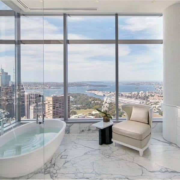 Penthouse Modern Floor To Ceiling Glass Windows Marble White Bathroom Ideas