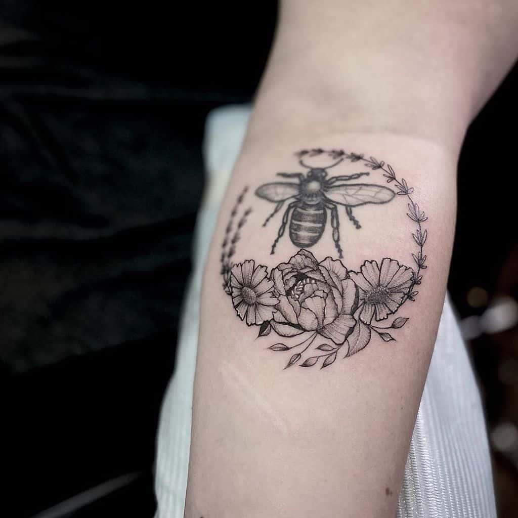 Peony Lavander Tattoo