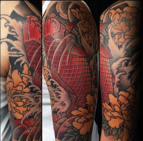 Mike S Koi Sleeve Chest Panel Unfinished Big Jpg 2400 3200: 100 Peony Tattoo Designs For Men