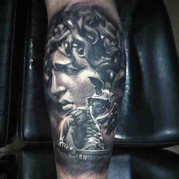 Perseus Sword Medusa Head Tattoo On Mans Leg Calf
