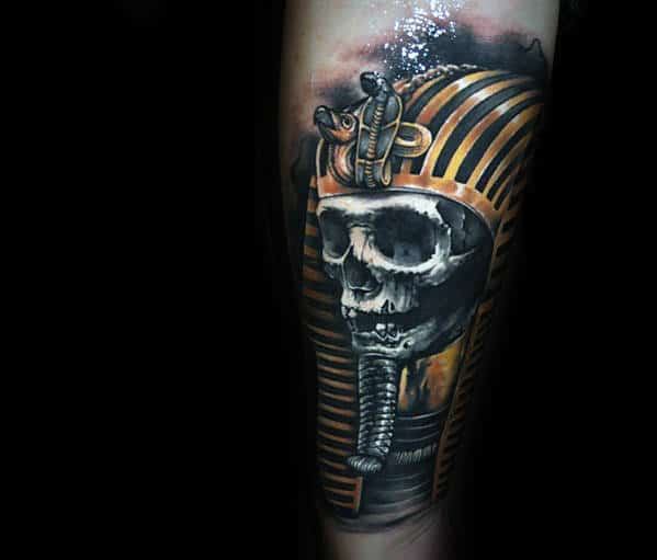 Pharoah Egyptian Skull Mens Realistic Forearm Tattoo