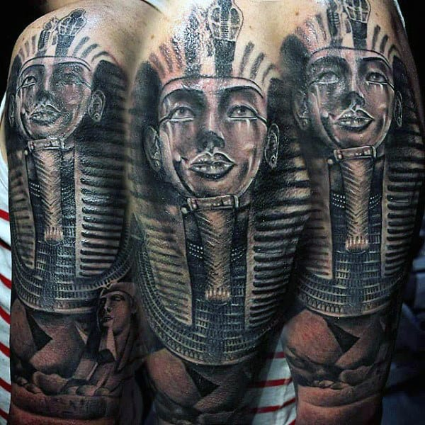 Pharoah Mens Pyramid Half Sleeve Tattoos