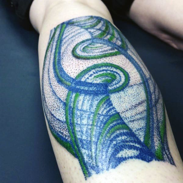 Phase Space Of Driven Pendelum Science Tattoo On Mans Lower Leg