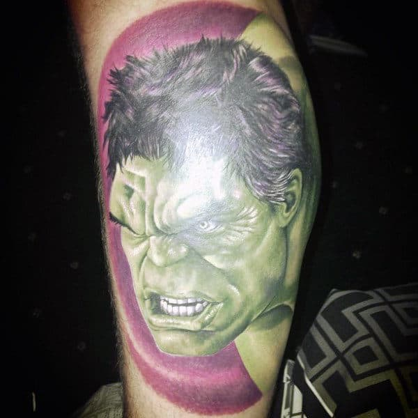Phenomenal Hulk Face Tattoo Male Forearms