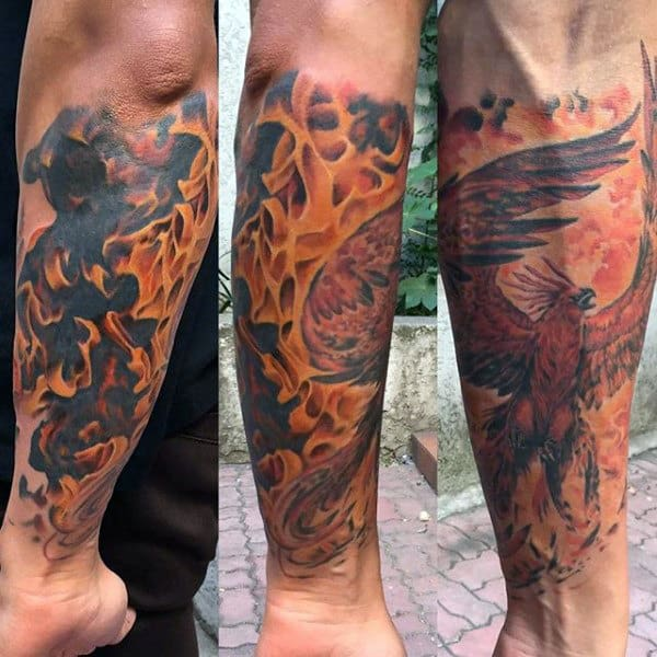 Pheonix Fire Mens Leg Sleeve Tattoo Ideas