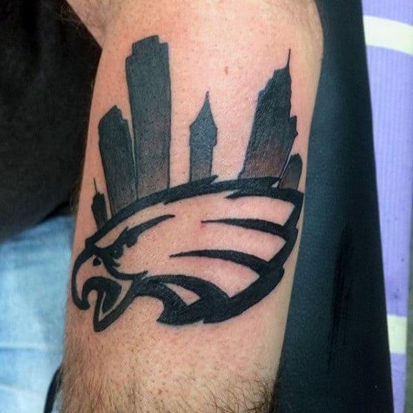 Philiadephia Skyline Eagles Football Team Mens Outer Arm Tattoos