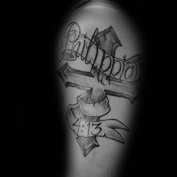 Philippians 4 13 With Banner And Cross Mens Arm Tattoos