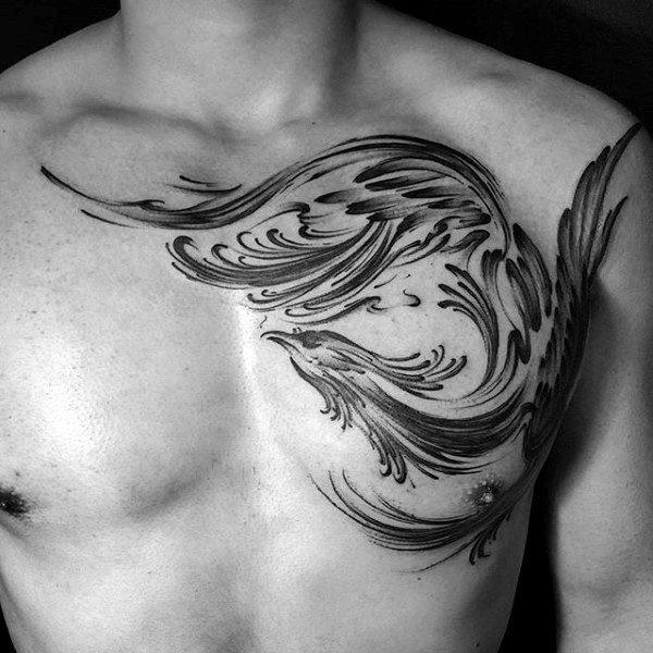 Phoenix Brush Stroke Male Chest Tattoo