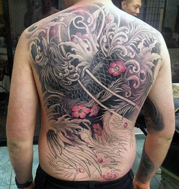 Phoenix Floral Mens Japanese Full Back Tattoos
