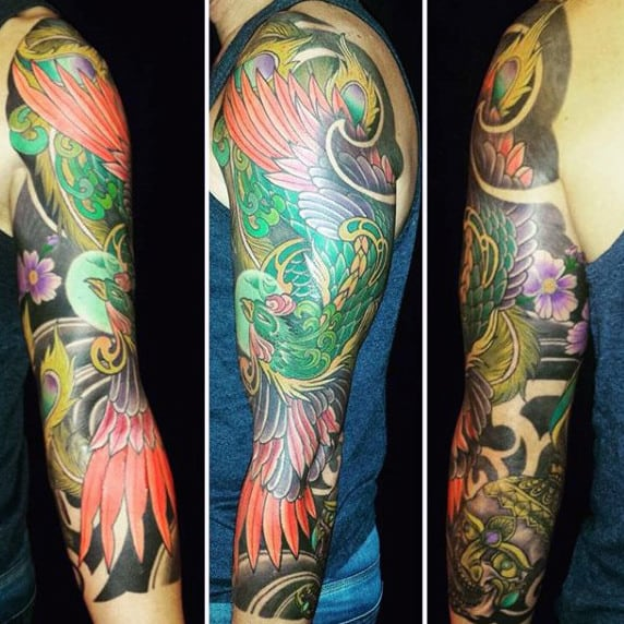 Phoenix Full Arm Men's Tattoos